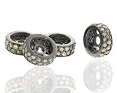 8x3mm Diamond Findings Wheel Shape Rondelle spacers Beads Sterling Silver Oxidized Charms 4 pieces lot