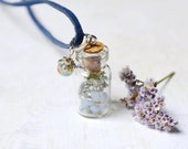 Necklace with dry forget-me-not and  dry fern inside the tiny glass bottle, gift for her, holiday gift under 20