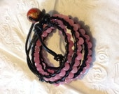 wrap bracelet withpink Quartz,