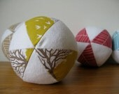 Baby ball toy - yellow and white soft cotton fabric - play ball - SALE