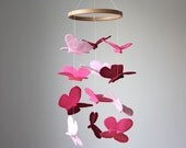 Pink Butterfly Mobile - Pink Baby Crib Mobile - Nursery or Kid's Room