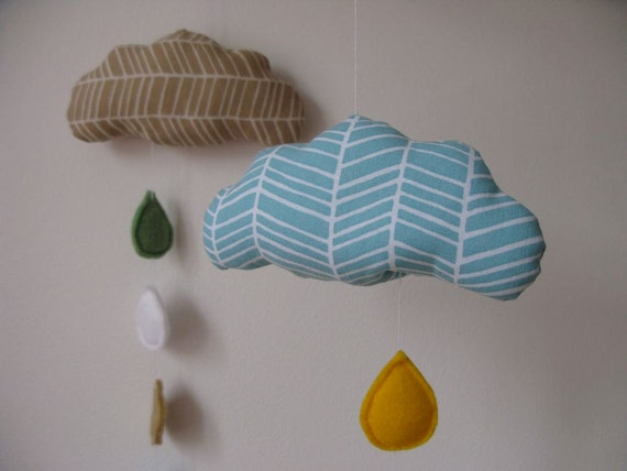 Blue baby crib mobile - cloud - blue and white with yellow for nursery
