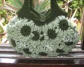 Crochet Flower purse Light and Dark Green