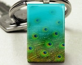 Domino Size Glass Metal FramePuffy Glass Key Chain-Peacock Feathers Collage Bird Nature