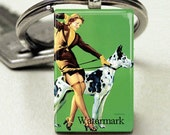 Domino Size Glass Metal Frame Key Chain-Pin Up Woman with Great Dane Dog Sexy Retro Animal Lover