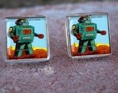 Glass Tile Post Earrings-Retro Robot Science Geek Space