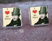 Glass Tile Post Earrings-I love Mr Darcy Jane Austen Top Hats Men Novel Christmas in July Sale