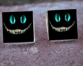 Glass Tile Post Earrings-Jewelry-Cheshire Cat Evil Smile Grin Alice in Wonderland