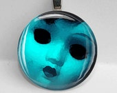 Glass Round Pendant Creepy Doll Faces Scary Gothic Weird Cool Bezel