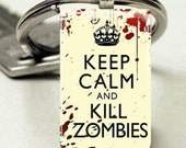 Domino Size Glass Metal FramePuffy Glass Key Chain Keep Calm Kill Zombies Horror Brains Blood Trendy