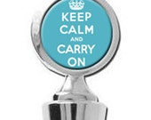 Keep Calm and Carry On crown Blue Wine Stopper House Warming Gift Trendy Bridal shower