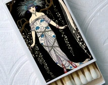 1920s Evening Gala French Soirée Art Deco Fashion Peacock Party Favor Set of 4 Match Boxes