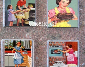Glass Tile Magnet Set 1950's Housewife Retro Baking
