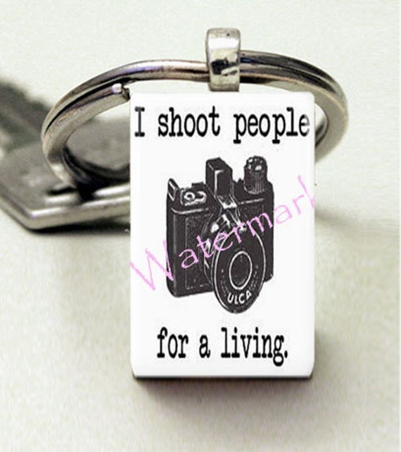 Domino Size Glass Metal Frame Key Chain-I Shoot People For a Living-Career Photography