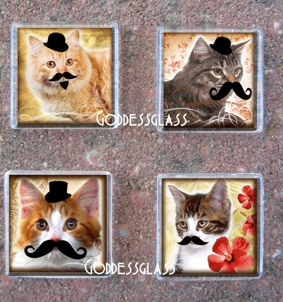 Glass Tile Magnet Set of 4-Vintage Cats with mustaches Top Hat Geek Cool Trendy