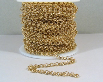 Rolo Chain - 3.8mm 5ft - Gold Plated - CH12