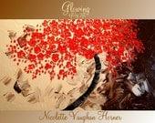 "ORIGINAL XLarge gallery wrap canvas modern  impasto floral   fine  art   painting  ""Glowing"" by Nicolette Vaughan Horner"