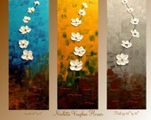 Original Abstract Triptych 3  panel Contemporary  modern art  on canvas painting  by Nicolette Vaughan Horner