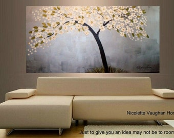 ORIGINAL XLarge  4ft x 2ft  gallery wrap canvas     abstract  landscape trees painting by Nicolette Vaughan Horner