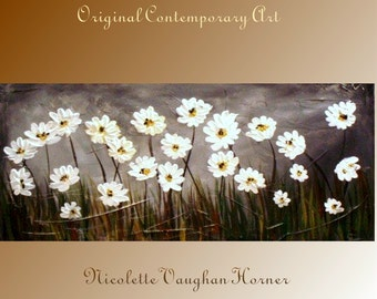 Original Impasto style painting on canvas 'Everything's Coming Up Daisies' by Nicolette Vaughan Horner