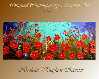 Original Impasto style painting on Deep gallery wrap canvas  Poppies by Nicolette Vaughan Horner