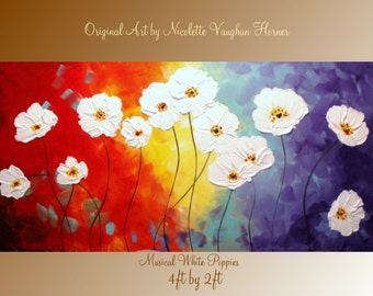 XLarge gallery wrap canvas Original Contemporary   oil/acrylic  Impasto modern  abstract floral painting by Nicolette Vaughan Horner