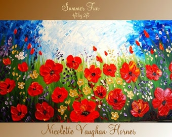 XLarge Original Contemporary    modern  impasto abstract  palette knife  RED POPPIESl  painting by Nicolette Vaughan Horner