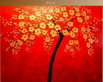 ENORMOUS ORIGINAL gallery wrap canvas- shades of red abstract  landscape Tree Of Life painting by Nicolette Vaughan Horner