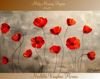 ORIGINAL Large    gallery wrap canvas-Contemporary impasto    abstract floral  painting by Nicolette Vaughan Horner