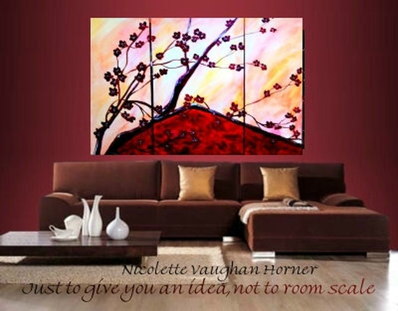XLarge 3 panel Original  CHERRY BLOSSOMS by Nicolette Vaughan Horner