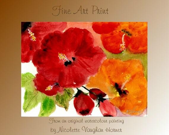Fine Art Print  Hibiscus Heaven from an original watercolor painting by Nicolette Vaughan Horner