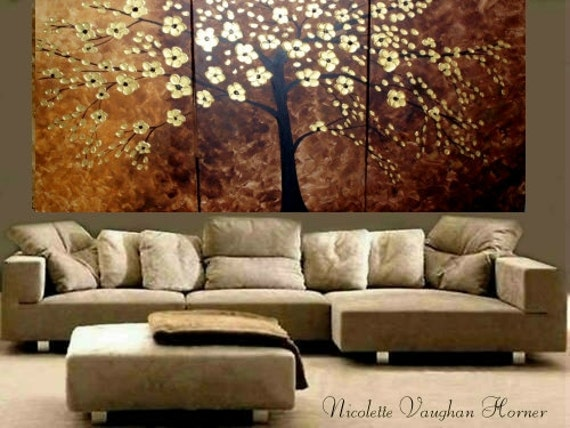 Enormous 6ft by 3ft (3 panel) original painting abstract tree,oils/acrylic on canvas by Nicolette Vaughan Horner