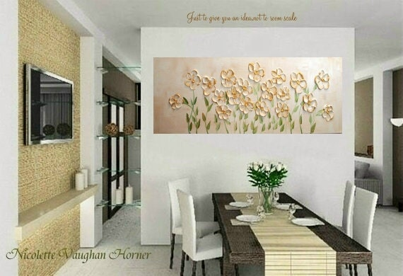 LARGE ORIGINAL deep  gallery wrap canvas-Contemporary impasto  modern  abstract  floral  painting by Nicolette Vaughan Horner