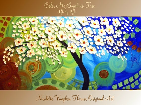 ORIGINAL Large 4ft x 2ft   gallery wrap canvas-Contemporary impasto   abstract  Floral Trees  painting by Nicolette Vaughan Horner