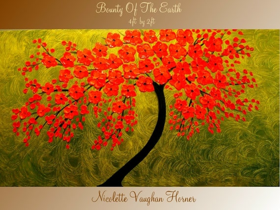 XLarge gallery wrap canvas Original Contemporary painting  'Bounty Of The Earth'  by Nicolette Vaughan Horner