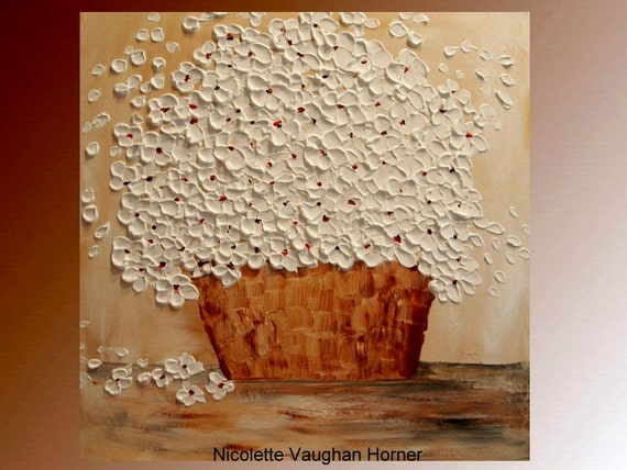 Original   abstract contemporary fine art  palette knife floral painting by Nicolette Vaughan Horner