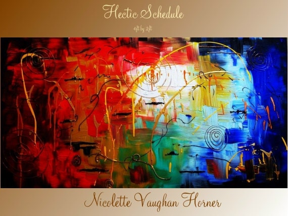 """ORIGINAL 48"""" X Large  gallery wrap canvas  contemporary abstract   fine  art   painting   by Nicolette Vaughan Horner"""