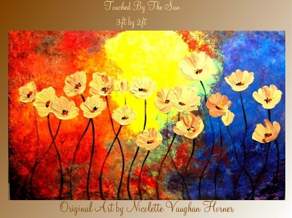 SALE ORIGINAL Large  gallery wrap canvas-Contemporary impasto  modern  abstract  floral painting by Nicolette Vaughan Horner Free ship