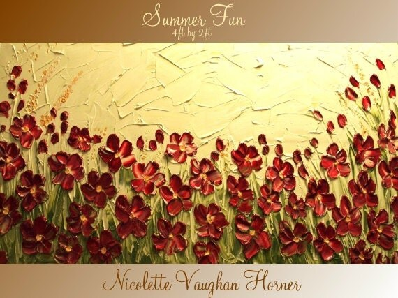 ORIGINAL X Large  gallery wrap canvas  modern mixed media  Oil impasto Floral  fine  art   painting   by Nicolette Vaughan Horner
