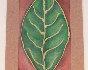 Recycled Greeting Card and Envelope - Hand painted Fabric Textile - Leaf Nature Green Gold