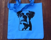 Light Blue Boxer Dog Tote
