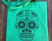 Dia De Los Muertos Green Sugar Skull Tote