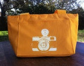 Yellow Camera Lunch Bag/ Six Pack Cooler