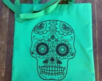 SALE Dia De Los Muertos Green Sugar Skull Tote