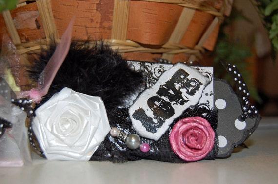 "Black, White and Pink Toilet Paper Mini Album - ""SALE 5.00 OFF"""