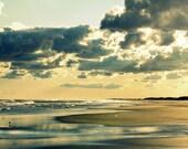 Beach Photography | Beach Photo Print | Golden Sunset Teal Blue Ocean | Peaceful Minimalist Beach House Decor Wall Art Print Neutral Colors