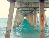 Beach House Decor   Beach Photography Print of Ocean Pier   Turquoise Sea   Ocean Decor Print   Coastal Decor Beach   Peaceful Seascape Art