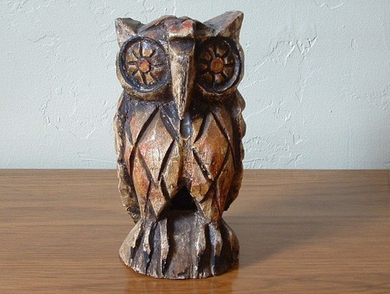 Vintage Wooden Owl Hand Carved from Mexico