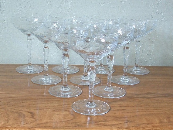 Vintage Etched Champagne Glasses Coupe Set of 10