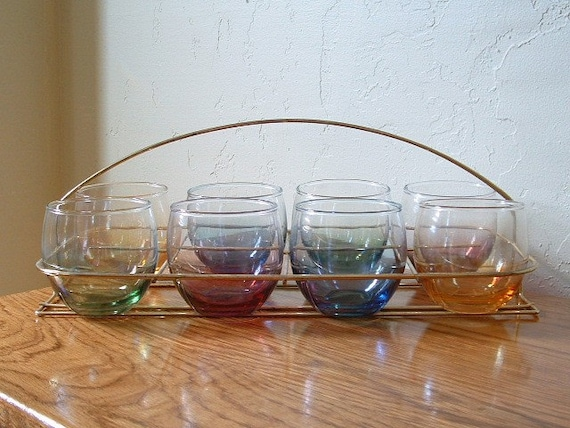 Vintage Roly Poly Glasses with Caddy Multi Color Set of 8